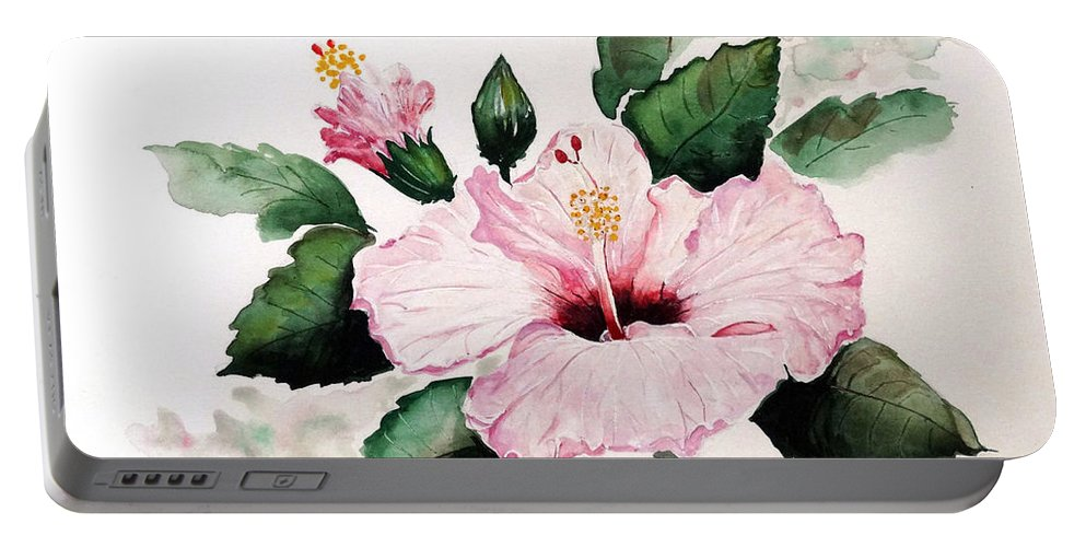 Hibiscus Painting  Floral Painting Flower Pink Hibiscus Tropical Bloom Caribbean Painting Portable Battery Charger featuring the painting Pink Hibiscus by Karin Dawn Kelshall- Best