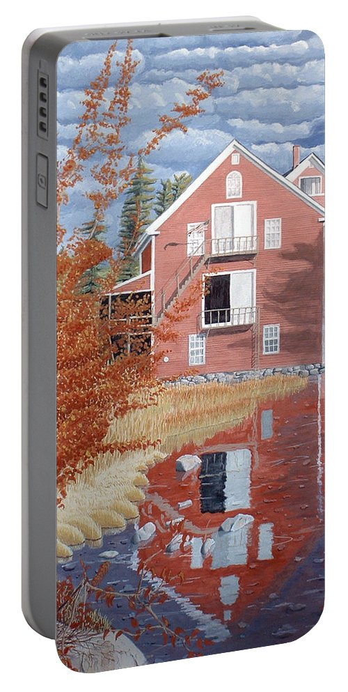 Autumn Portable Battery Charger featuring the painting Pink House In Autumn by Dominic White