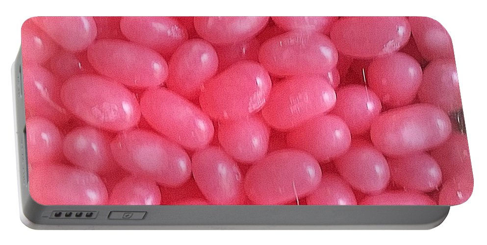 Pink Portable Battery Charger featuring the photograph Pink Jelly Beans by Robert Banach