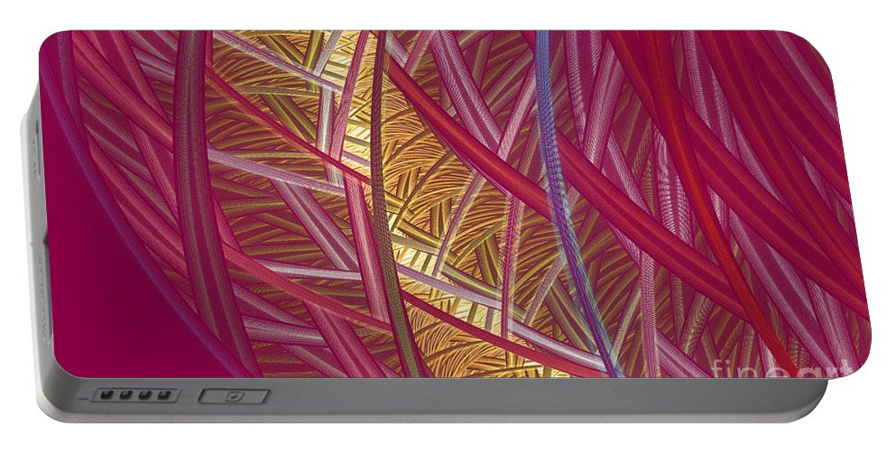 Fractal Portable Battery Charger featuring the mixed media Pink Lines by Deborah Benoit