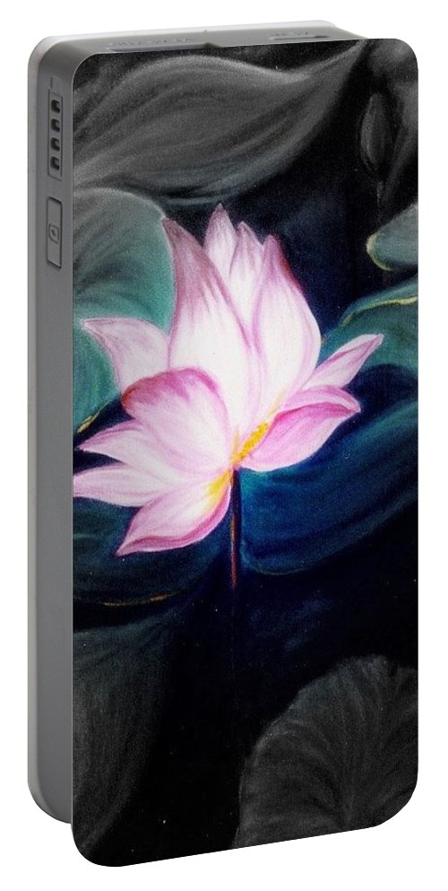 Lotus Portable Battery Charger featuring the painting Pink Lotus by Dina Holland