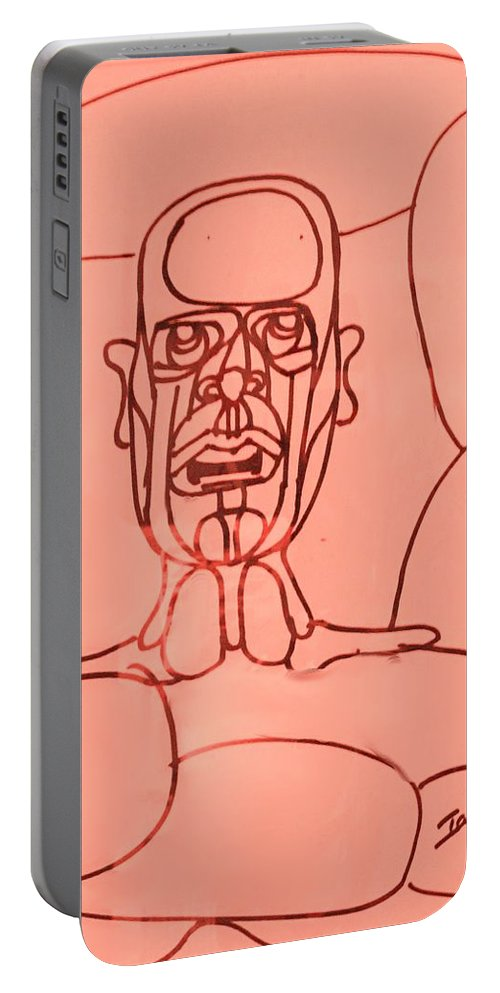 Man Portable Battery Charger featuring the drawing Pink Man by Ian MacDonald