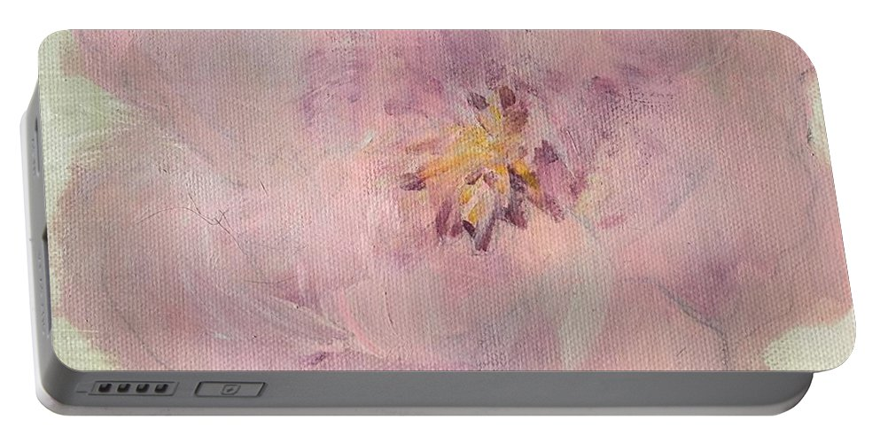 Pink Portable Battery Charger featuring the painting Pink by Mary Jo Hopton