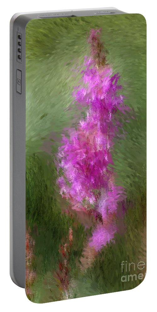 Abstract Portable Battery Charger featuring the digital art Pink Nature Abstract by David Lane