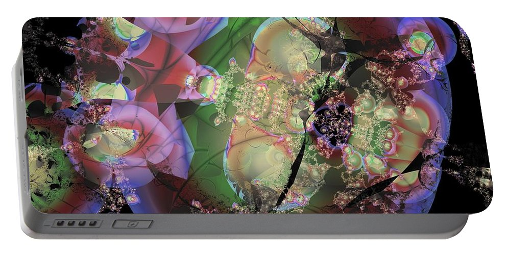 Pachinko Portable Battery Charger featuring the digital art Pink Pachinko by Ron Bissett