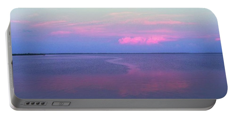 Sunset Portable Battery Charger featuring the photograph Pink Path by Ian MacDonald
