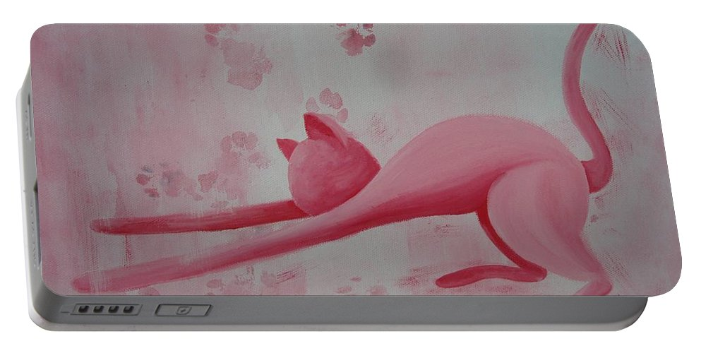 Pink Pause Portable Battery Charger featuring the painting Pink Pause by Catt Kyriacou
