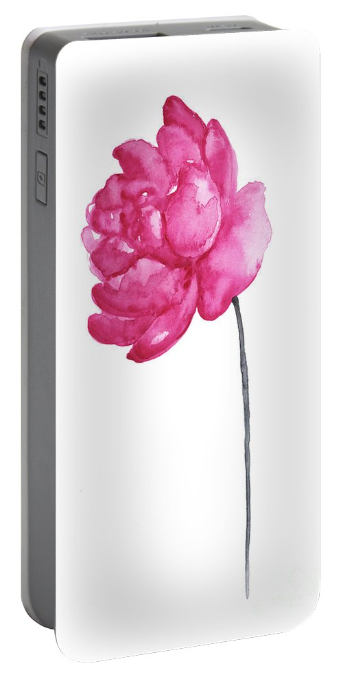Prints Portable Battery Charger featuring the painting Pink Peony, Nursery Room Print, Baby Girl Kids Room Decoration, by Joanna Szmerdt
