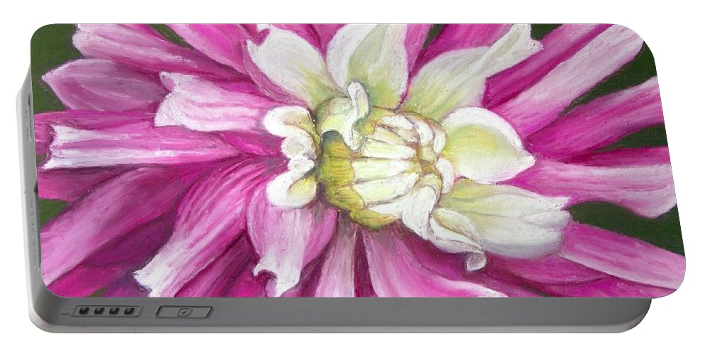 Floral Portable Battery Charger featuring the painting Pink Petal Blast by Minaz Jantz