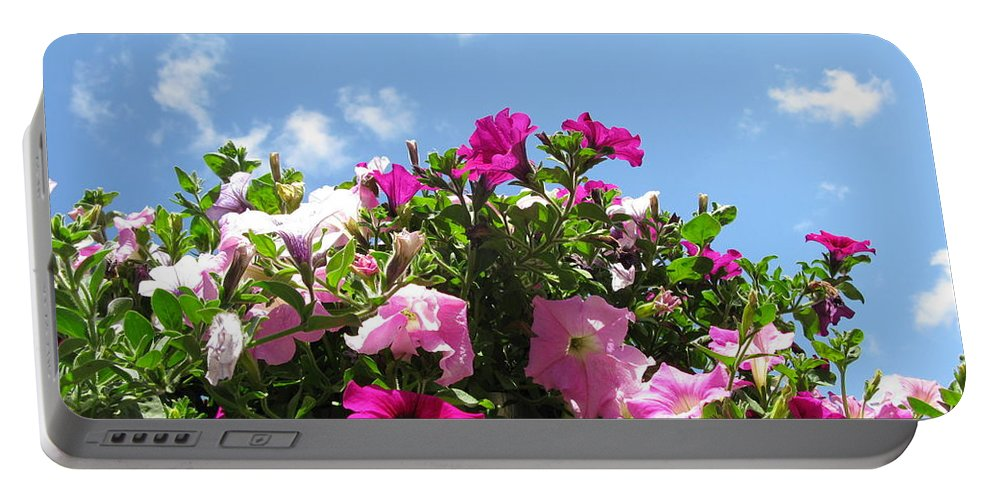 Petunia Portable Battery Charger featuring the photograph Pink Petunias In The Sky by Ausra Huntington nee Paulauskaite