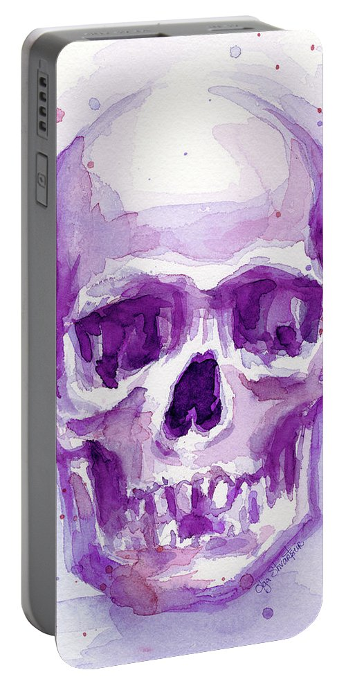 Purple Portable Battery Charger featuring the painting Pink Purple Skull by Olga Shvartsur