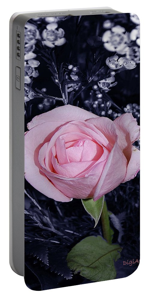 Rose Portable Battery Charger featuring the digital art Pink Rose Of Imperfection by DigiArt Diaries by Vicky B Fuller