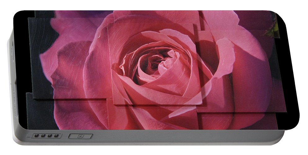 Rose Portable Battery Charger featuring the sculpture Pink Rose Photo Sculpture by Michael Bessler