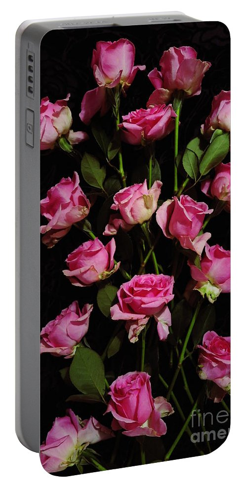Floral Portable Battery Charger featuring the photograph Pink Roses 1 by Tara Shalton