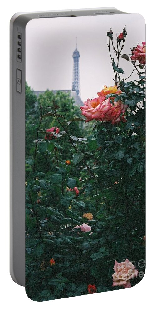 Roses Portable Battery Charger featuring the photograph Pink Roses And The Eiffel Tower by Nadine Rippelmeyer