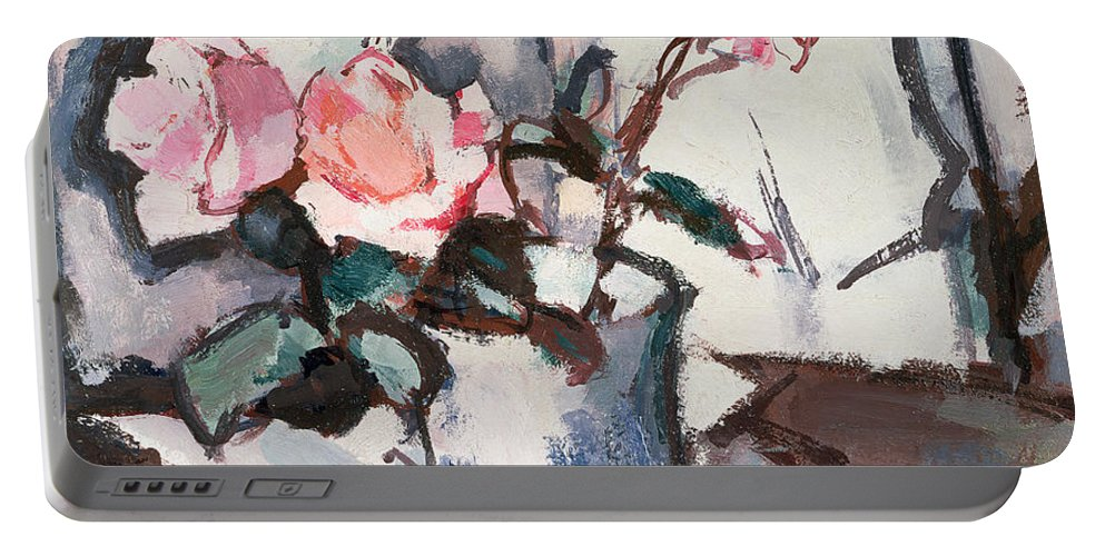 Pink Portable Battery Charger featuring the painting Pink Roses by Samuel John Peploe