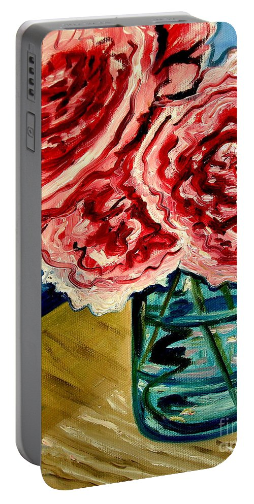 Floral Portable Battery Charger featuring the painting Pink Ruffled Peonies by Elizabeth Robinette Tyndall