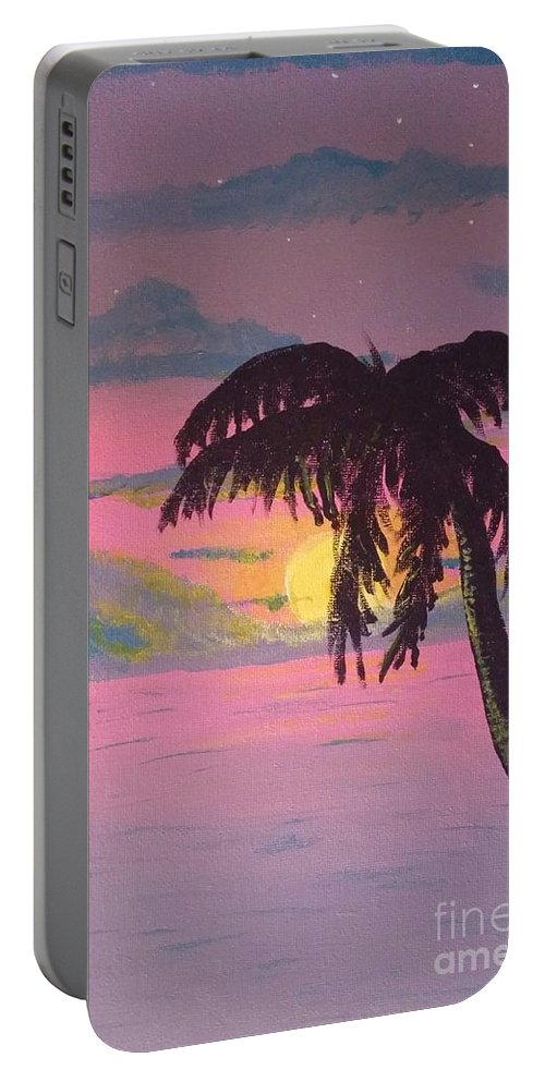 Sunset Portable Battery Charger featuring the painting Pink Sunset by Heather James