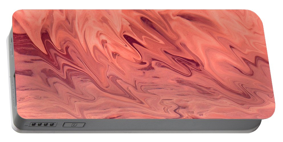Abstract Portable Battery Charger featuring the digital art Pink Surge by Ian MacDonald