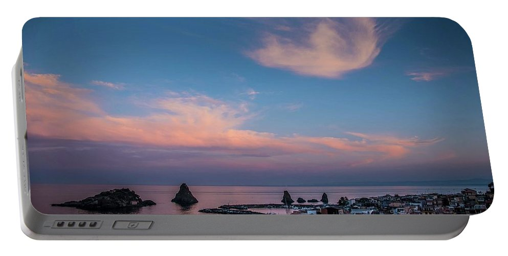 Sunrise Portable Battery Charger featuring the photograph Pink Water by Larkin's Balcony Photography