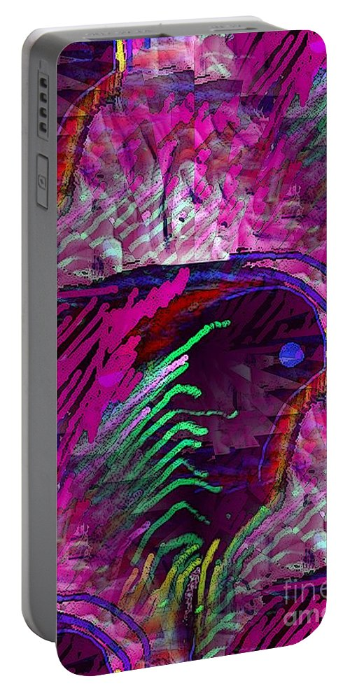 Pinks And Geens Portable Battery Charger featuring the digital art Pink White And Blue by Ron Bissett