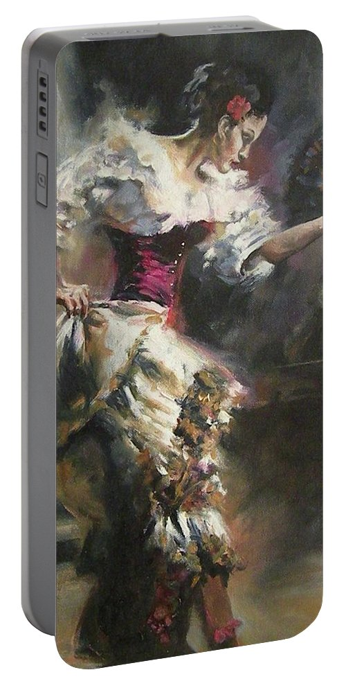 Dancers Portable Battery Charger featuring the painting Pino D'angelico's The Dancer by Mia DeLode