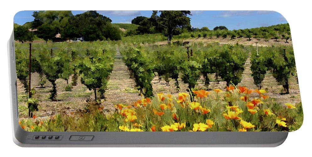 Vineyards Portable Battery Charger featuring the photograph Pinot Noir And Poppies by Kurt Van Wagner