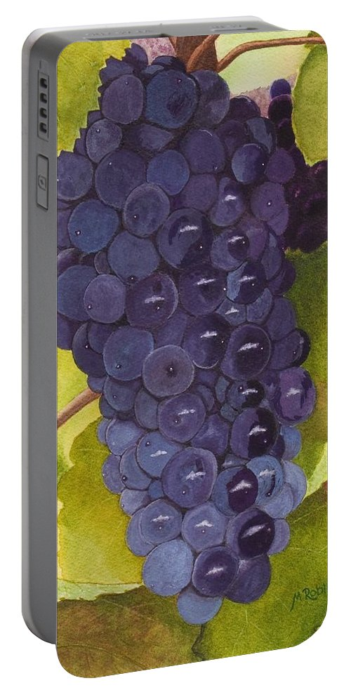 Grapes Portable Battery Charger featuring the painting Pinot Noir Ready For Harvest by Mike Robles