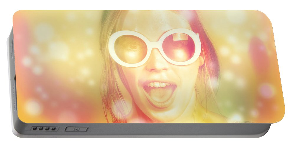 Face Portable Battery Charger featuring the photograph Pinup Beauty In Excited Fashion Abstract by Jorgo Photography - Wall Art Gallery