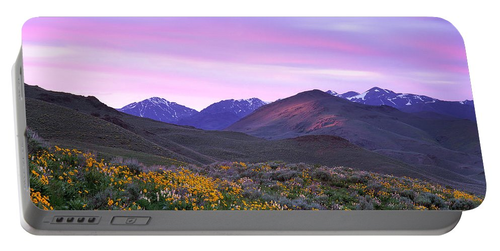 Pioneer Mountains Spring Portable Battery Charger featuring the photograph Pioneer Mountain Sunset by Leland D Howard