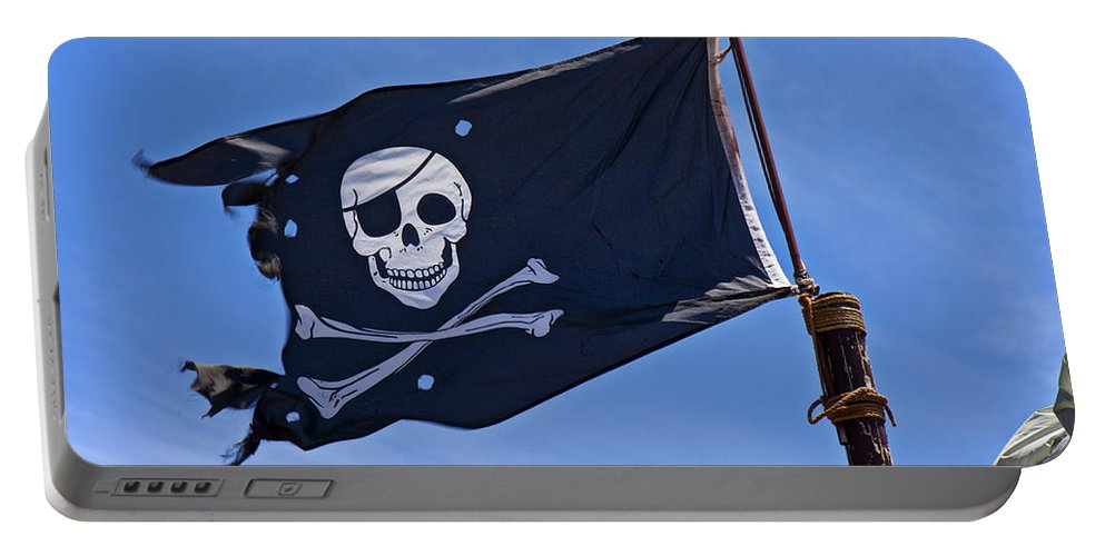 Pirate Flag Skull Cross Bones Portable Battery Charger featuring the photograph Pirate Flag Skull And Cross Bones by Garry Gay