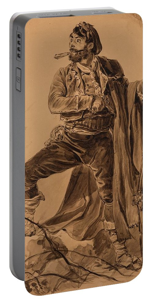 Yegor Ivanovich Makovskiy (russian 1802-1886) Pirate Portable Battery Charger featuring the painting Pirate by MotionAge Designs