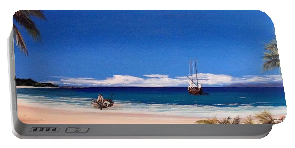 Pirates Portable Battery Charger featuring the painting Pirates On The Beach by Stephen Broussard