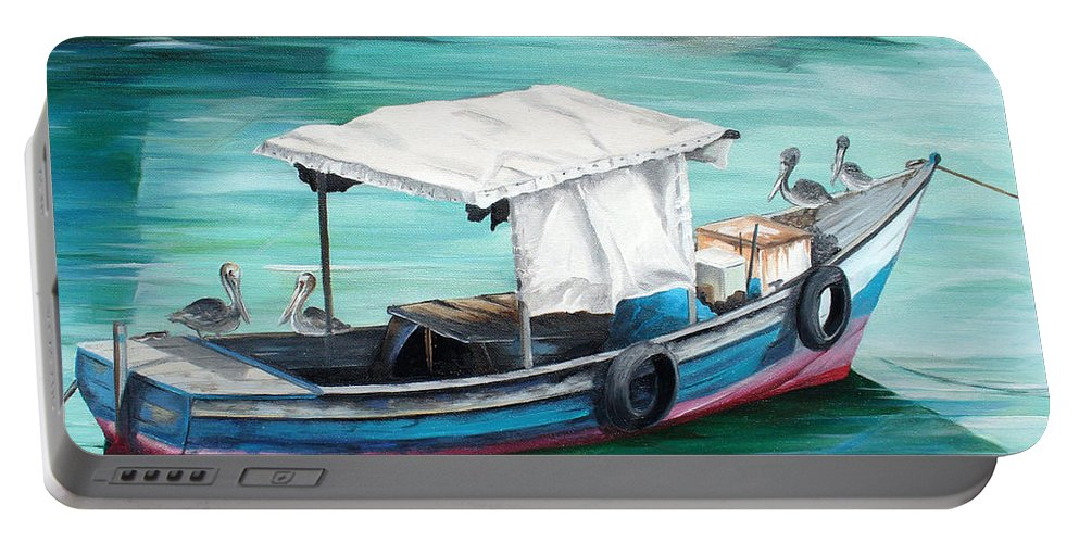 Fishing Boat Painting Seascape Ocean Painting Pelican Painting Boat Painting Caribbean Painting Pirogue Oil Fishing Boat Trinidad And Tobago Portable Battery Charger featuring the painting Pirogue Fishing Boat by Karin Dawn Kelshall- Best
