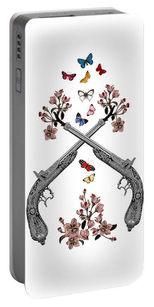 Gun Portable Battery Charger featuring the digital art Pistols Wit Flowers And Butterflies by Madame Memento