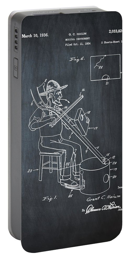 Pitch Portable Battery Charger featuring the photograph Pitch Fork Fiddle And Drum Patent 1936 - Chalk by Bill Cannon