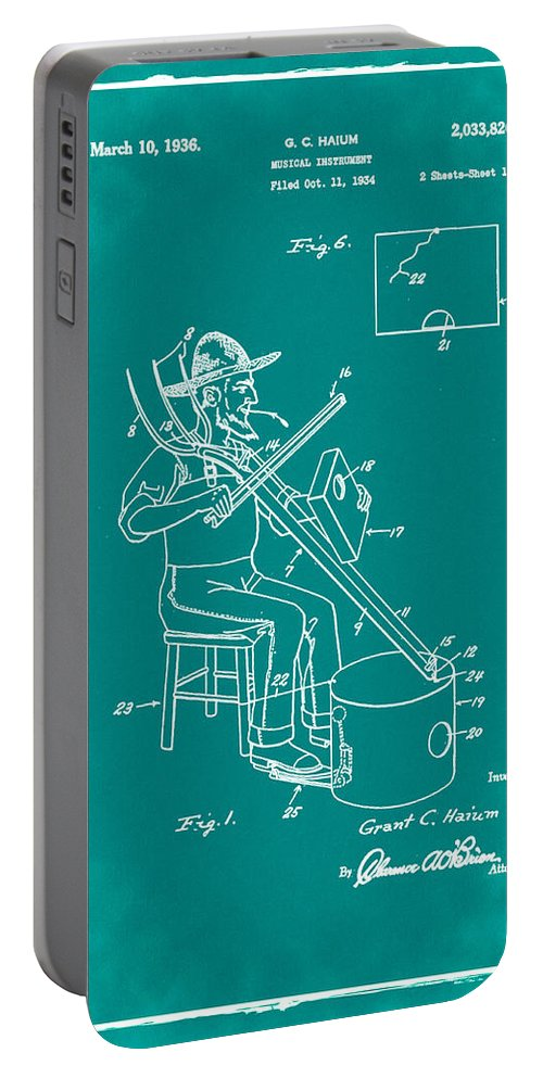 Pitch Portable Battery Charger featuring the photograph Pitch Fork Fiddle And Drum Patent 1936 - Green by Bill Cannon