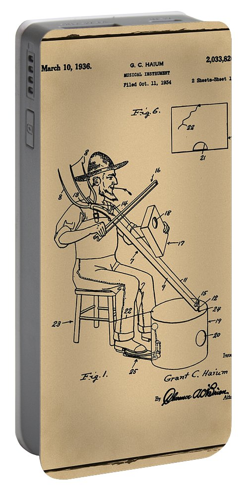 Pitch Portable Battery Charger featuring the photograph Pitch Fork Fiddle And Drum Patent 1936 - Sepia by Bill Cannon