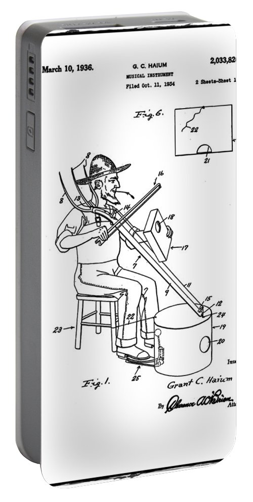 Pitch Portable Battery Charger featuring the photograph Pitch Fork Fiddle And Drum Patent 1936 - White by Bill Cannon