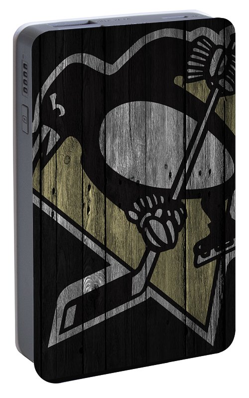 Penguins Portable Battery Charger featuring the digital art Pittsburgh Penguins Wood Fence by Joe Hamilton