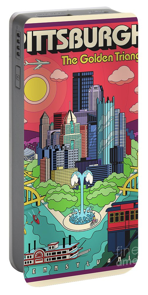 Pittsburgh Portable Battery Charger featuring the digital art Pittsburgh Poster - Pop Art - Travel by Jim Zahniser