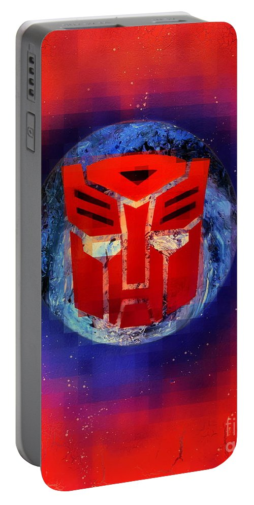Justin Moore Portable Battery Charger featuring the digital art Pixeled Autobot by Justin Moore