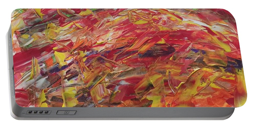 Portable Battery Charger featuring the painting Pizza by Lisa Porter