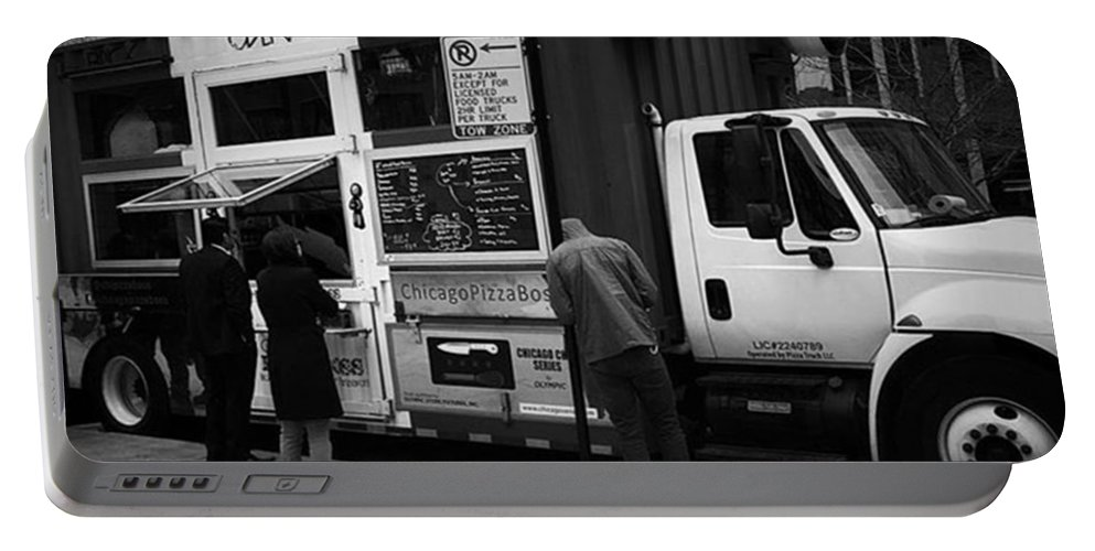 Mobileprints Portable Battery Charger featuring the photograph Pizza Oven Truck - Chicago - Monochrome by Frank J Casella