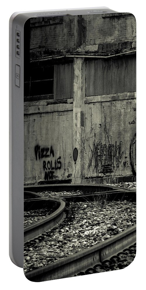 Train Portable Battery Charger featuring the photograph Pizza Rolls by Walking Pants