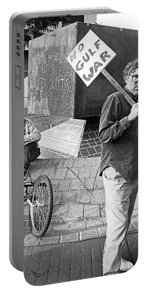 Placard Carrier No Gulf War Rally Federal Building Tucson Arizona 1991 Portable Battery Charger featuring the photograph Placard Carrier No Gulf War Rally Federal Building Tucson Arizona 1991 by David Lee Guss