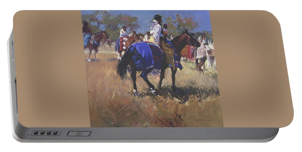 Horses Portable Battery Charger featuring the digital art Place of the Sun L. E. P. by Betty Jean Billups