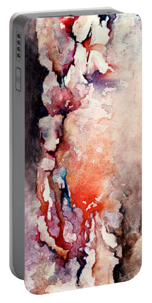 Abstract Portable Battery Charger featuring the painting Places In The Heart by Rachel Christine Nowicki