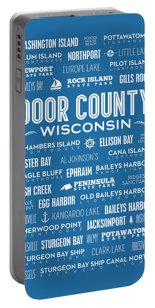 Door County Portable Battery Charger featuring the digital art Places Of Door County On Blue by Christopher Arndt