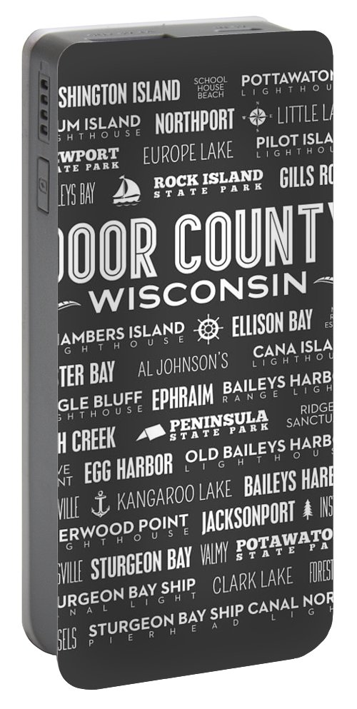 Door County Portable Battery Charger featuring the photograph Places Of Door County On Gray by Christopher Arndt
